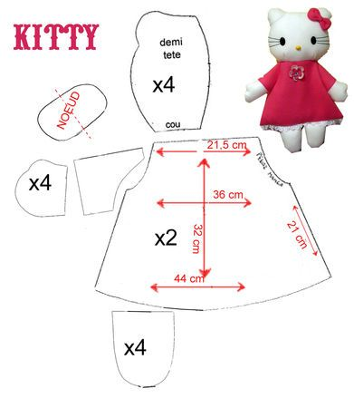Hello KITTY pattern stuffed toy soft doll sewing handmade