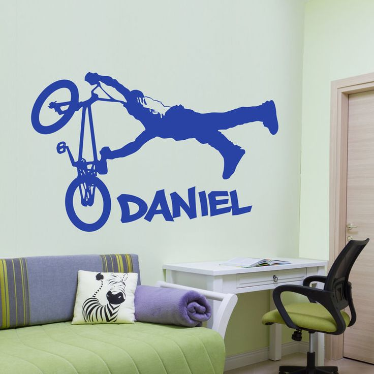 Personalised Boy S Children S BMX Jump Wall Sticker Decal Quote Vinyl  Transfer Part 56
