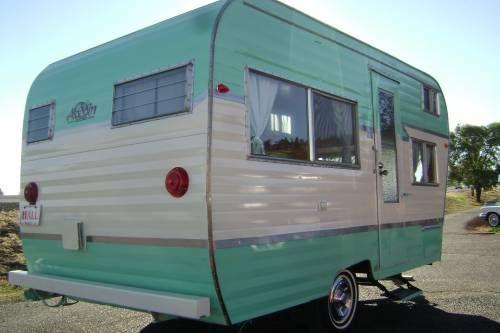 Aqua Vintage Caravan - canned ham camper - tiny trailer <O>