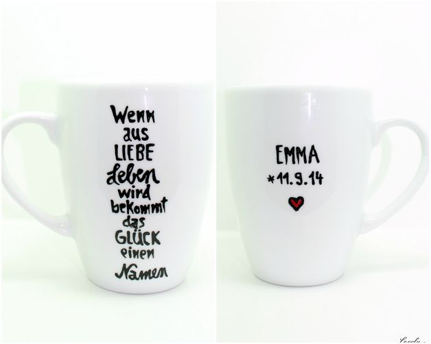 Personalisiertes Hebamme Geschenk, Tasse mit Spruch und Wunschname, das schöne liebevolle Hebamme Geschenk mit liebevollem Spruch:  ....wenn aus Liebe Leben wird bekommt das Glück einen Namen...