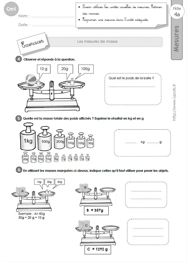 cm1: Exercices les MESURES DE MASSES estimation | Cm1, Maths cm2, Revision cm1