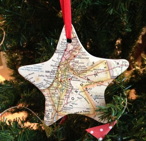 Custom map christmas ornament choose your map great for Engagement christmas tree ornaments