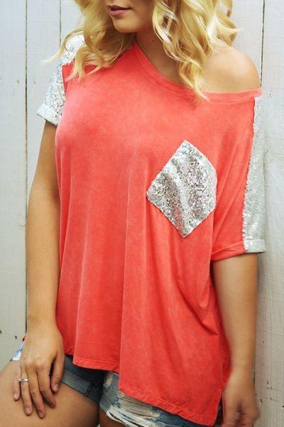 Skew Neck Color Block Sequined Pocket T-Shirt ORANGE: Tees | ZAFUL