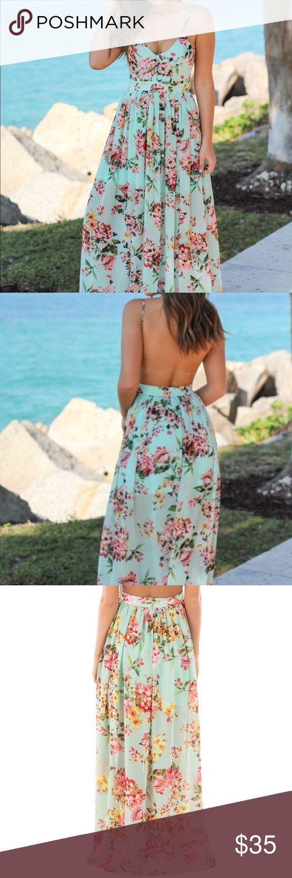 Mint Floral Backless maxi dress Super cute Mint Floral Maxi Dress with Open Back! Perfect for any special occasion.I  love its beautiful floral print, flowy skirt and open back! The color combo is so pretty! Worn one time to a wedding and is in excellent condition   100% Polyester Length:  53 inches Model is 5'5, 32 B bust, size 2/4 pants, size small top and is wearing a size small. Fits True to Size V-Neck Flowy Skirt Adjustable Straps Zipper on the Side Partially Lined Hand Wash Cold Line…
