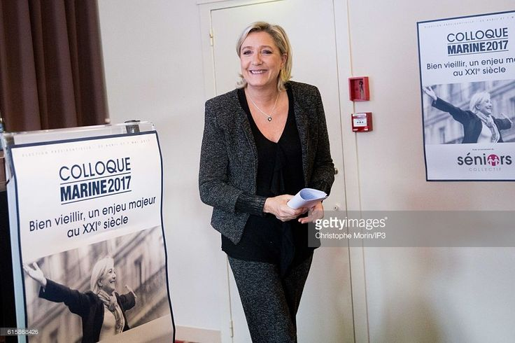 French far right National Front (FN) political party leader Marine Le Pen, member of the European Parliament, and candidate for the 2017 presidential elections holds a seminar on older people in the 21st century for the launch of a collective of seniors on October 20, 2016 in Paris, France.