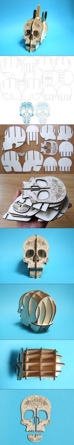 Copie ? Un peu ?  Skull 3D Lenmarco Laser, wooden pens holder, 4mm plywood, laser cutting