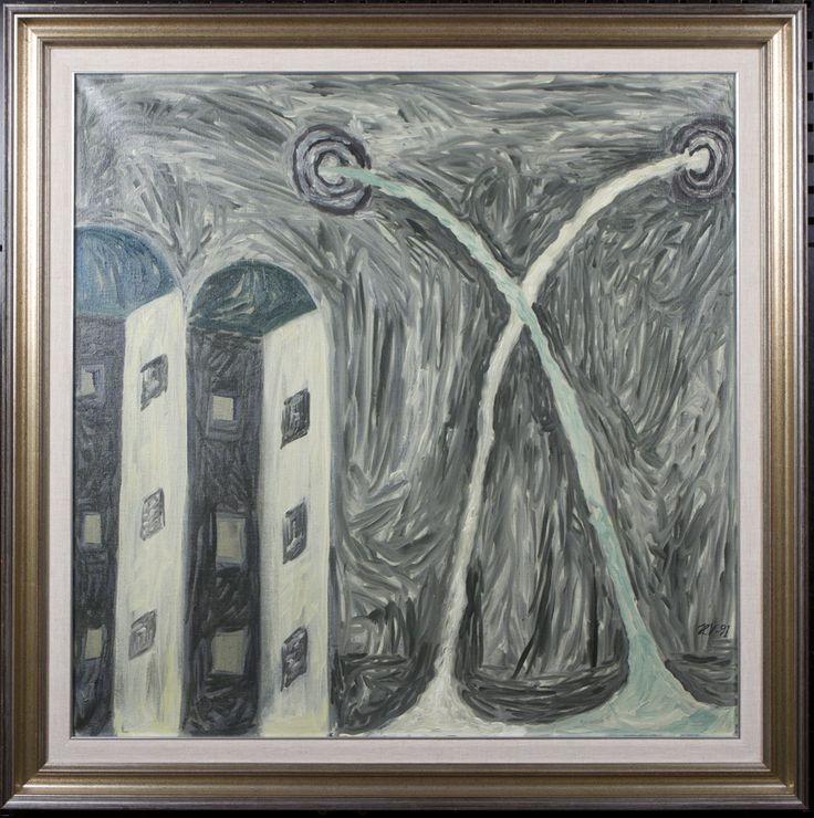 Hannu Väisänen: Seinä, 1991, öljy, 80x80 cm - Hagelstam A126