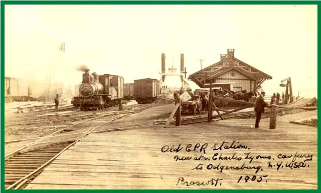 PRESCOTT, Ontario -1905 pc -Canadian Pacific Railway station and Ogdensburg NY train ferry, St Lawrence River