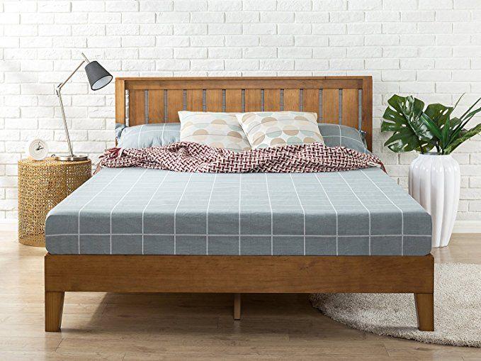 Amazon Com Zinus 12 Inch Deluxe Wood Platform Bed With Headboard