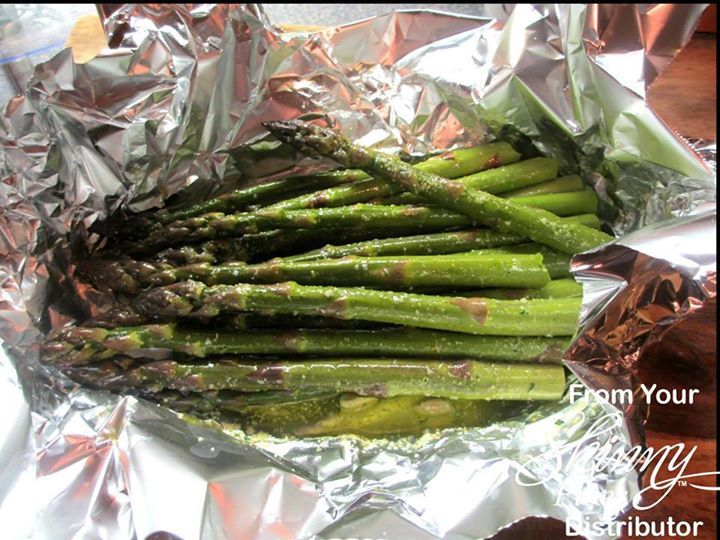 This is delicious!! Asparagus Foil Packet for the Grill   1 Bunch Asparagus 2 Tablespoons Olive Oil Juice of half a lemon Ground Garlic Salt and Parsley to taste (or fresh garlic) Place all in a piece of foil and fold up edges & toss to coat Place on grill and cook to desired tenderness Can be done in the oven at 375 for 10-15 minutes Enjoy!    To SAVE this, be sure to click SHARE so it will store on your personal page.  FOLLOW me on Facebook; I am always posting AWESOME ...
