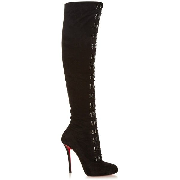 Christian Louboutin Top Croche over-the-knee suede boots ($2,414) ❤ liked on Polyvore featuring shoes, boots, black, thigh high boots, thigh boots, black over the knee boots, over-knee boots and black boots