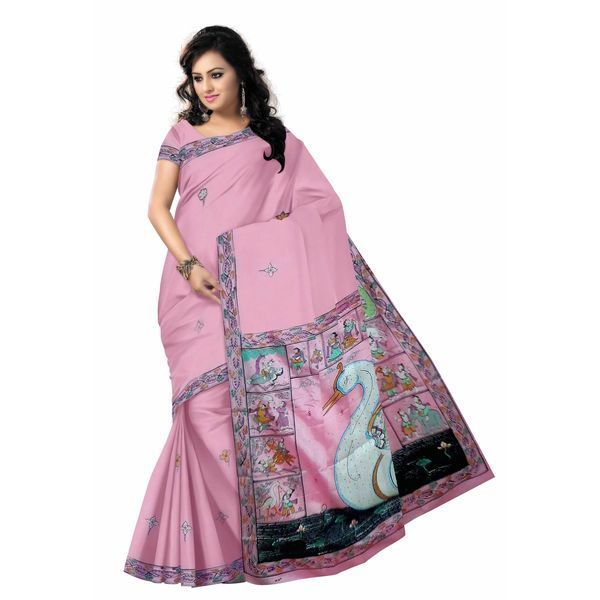 Light pink colour Handicrafted Patachitra painting saree gives you a smart & stunning look. Perfect for wear in several wedding function.