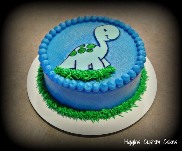Baby Dinosaur Smash Cake by HigginsCustomCakes
