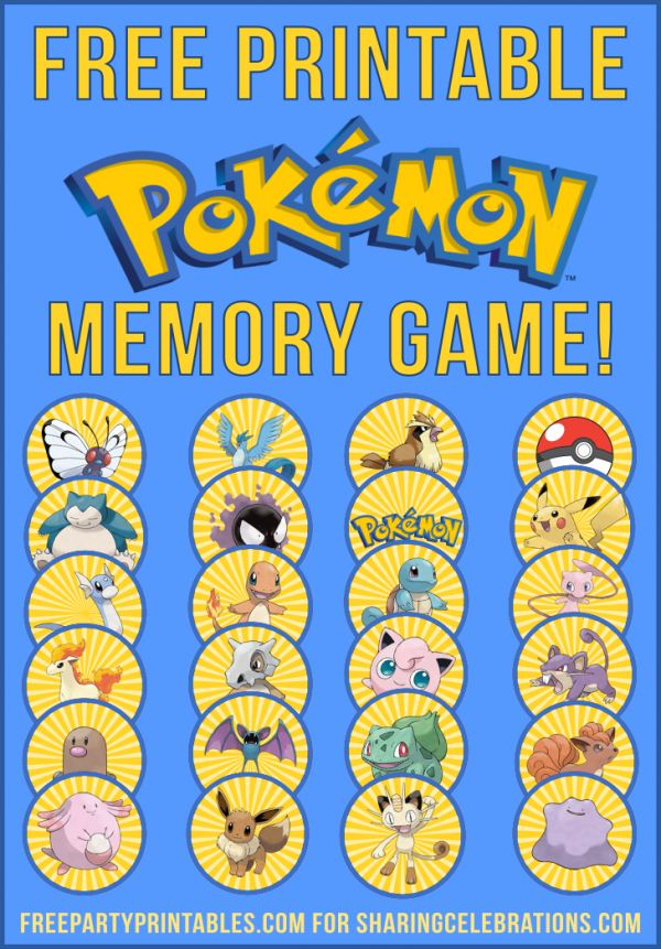 Free Printable Pokemon Memory Game