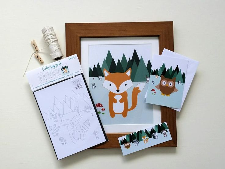 Woodland Friends products from Lottie Coco - fox print, owl card, colouring pack and woodland creature bookmark #lottiecoco