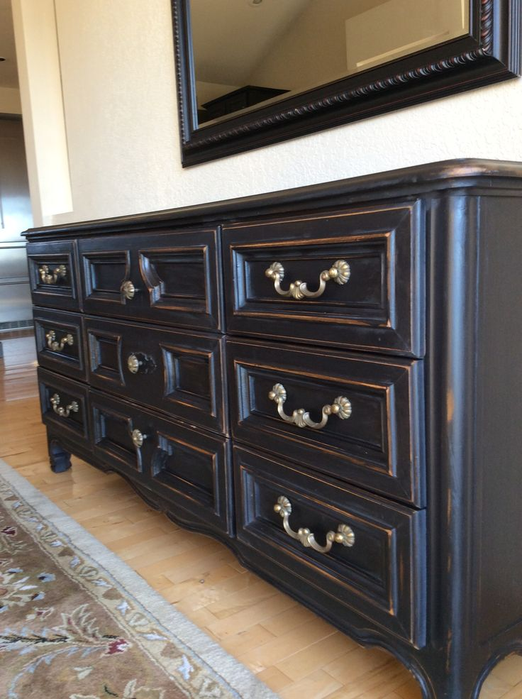 Drexel Dresser 1969 Black Chalk Paint Using As Dining Room Sideboard