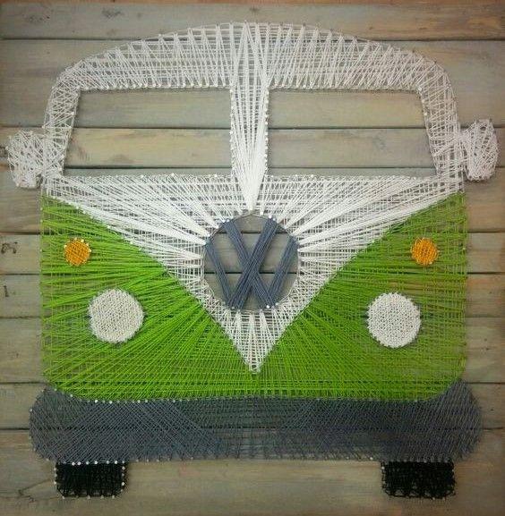 custom string art green volkswagon vw bus  magic bus hippy psychedelic
