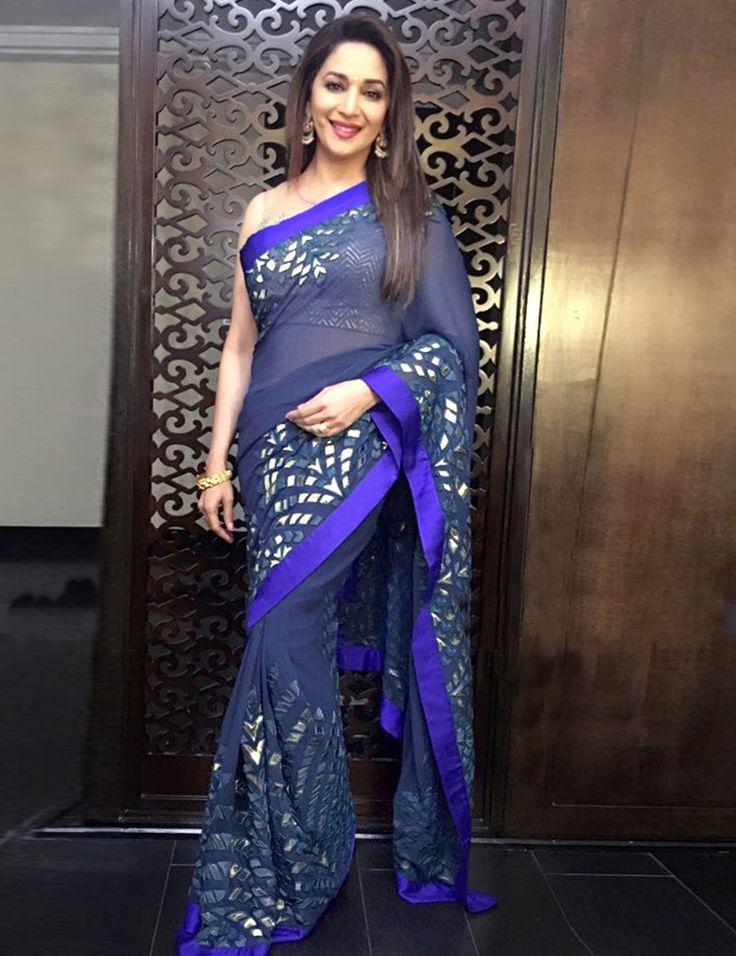 Madhuri Dixit Georgette Party Wear Saree