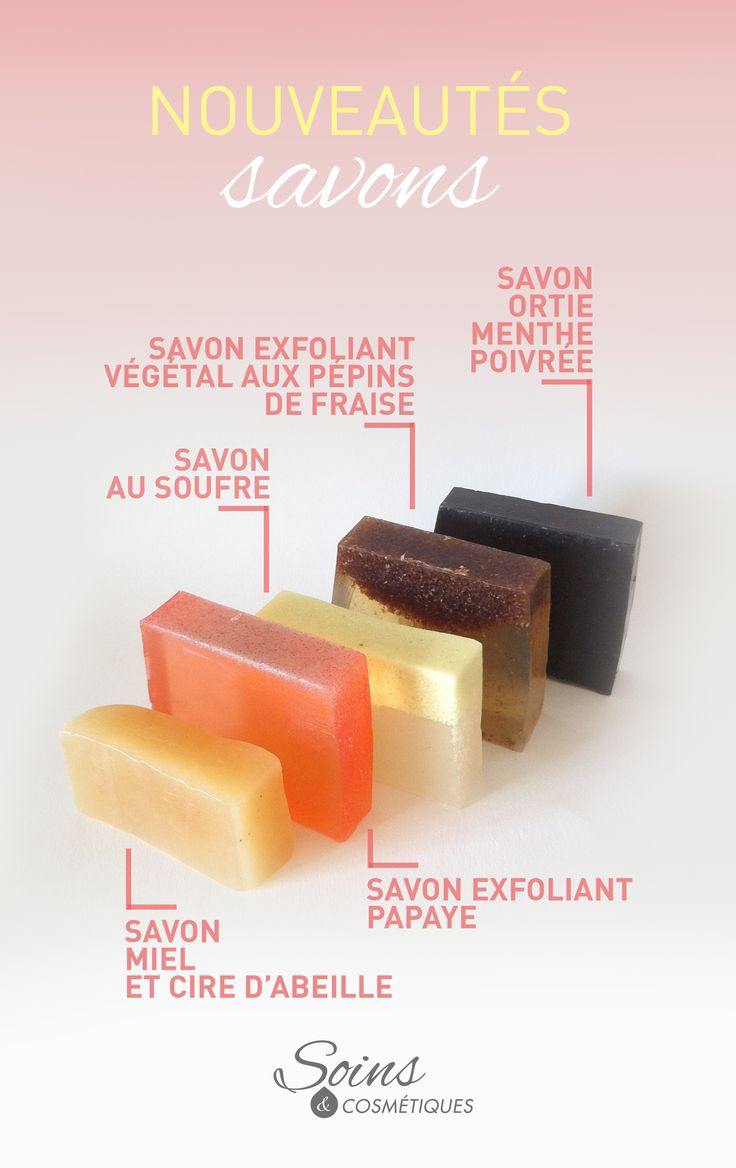 Les voici, ils sont prêts, ce sont les nouveaux savons de la gamme artisanale !!  - Savon miel & cire d'abeille - Savon exfoliant papaye - Savon au soufre - Savon exfoliant doux aux pépins de fraises - Savon à la poudre d'ortie et à l'huile de menthe poivrée (plus d'infos sur le site www.soins-et-cosmetiques.com/#!savons/ca94)