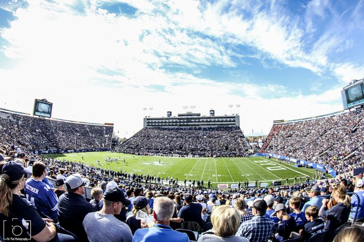 We took our son to his first football game yesterday, so I threw on the fisheye lens and captured this shot of Lavell Edwards Stadium from our seats. BYU defeated Southern Utah 37-7. Go Cougars!