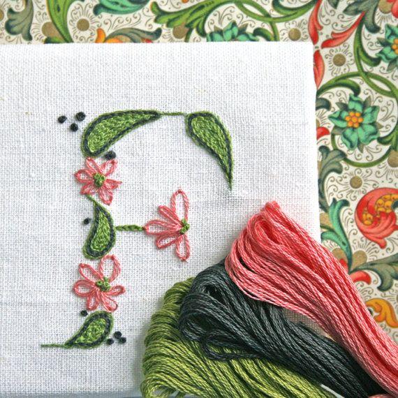 DIY pdf Crewel Embroidery Pattern Monogram F is by PrairieGarden, $5.00