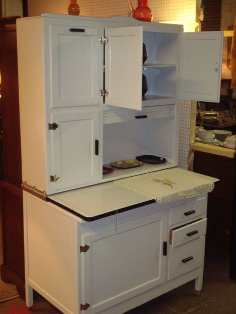 Primitive Hoosier Cabinets For Sale | Colonial Square Antique Mall, LLC:  White Painted Hoosier