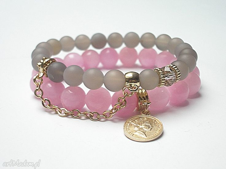 • niebanalne bransoletki, biżuteria - grey and pink 03 duo