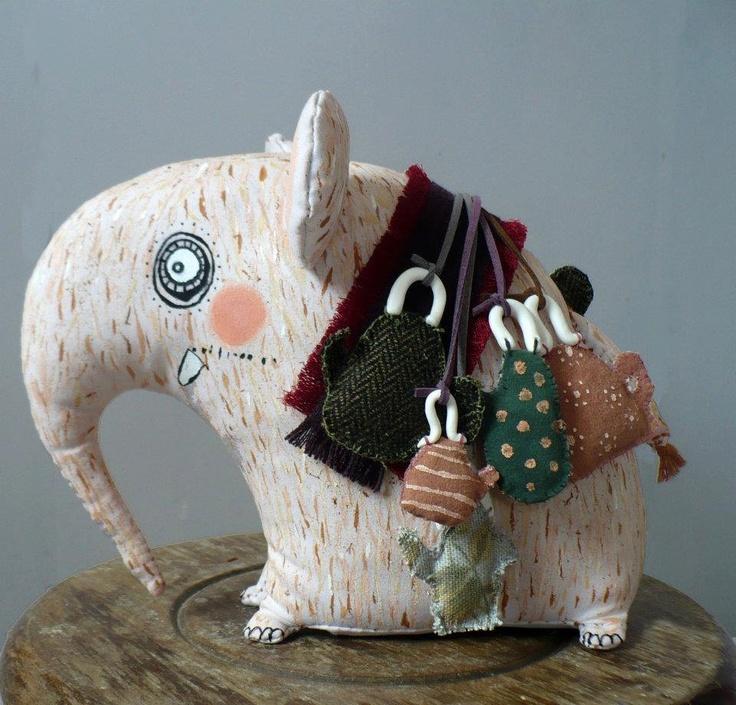 Tea Elephant- art toy (ooak)