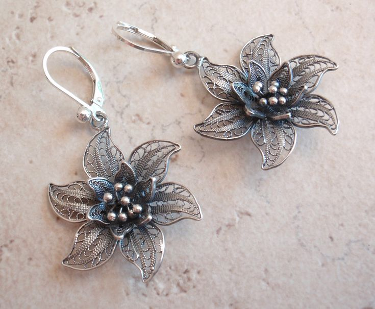 Filigree Flower Earrings Sterling Silver Leverback Wires Handmade  #sterlingsilver #filigree #flower #earrings
