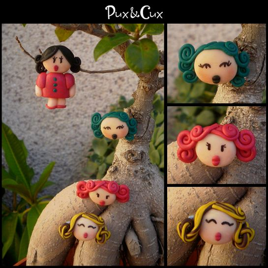 Broches #doll #handmade #polymerclay #hechoamano #arcillapolimérica #fimo #clay #muñecas