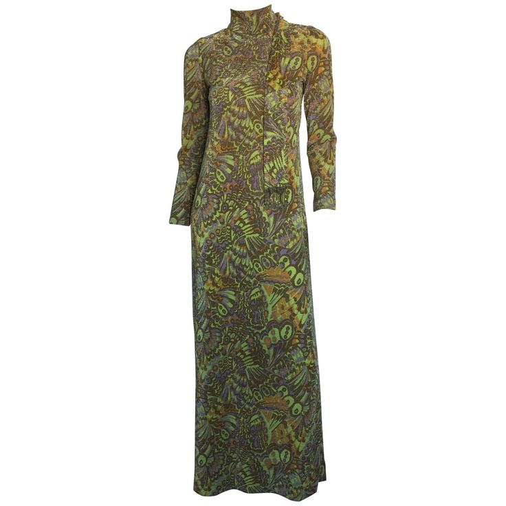 Tricosa metallic green gold maxi dress  | From a collection of rare vintage evening dresses and gowns at https://www.1stdibs.com/fashion/clothing/evening-dresses/