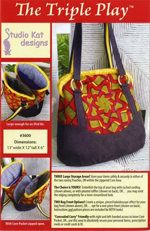The Triple Play Sewing Pattern From Studio Kat Designs Bag And