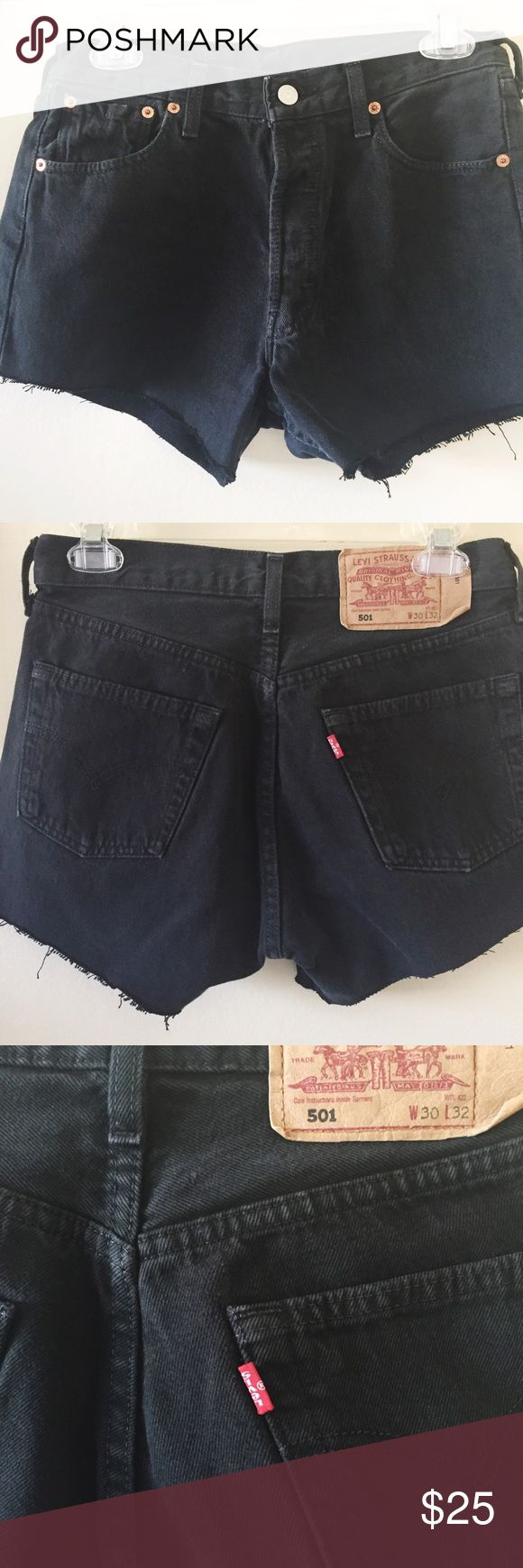 Black High waisted 501 denim shorts 🖤 in W30   would fit a UK 8/10 #levis #highwaisted #shorts #ripped #rippedshorts #levisshorts #highwaistedshorts #summer #holiday #501 #denim #jeanshorts Levi's Shorts Jean Shorts