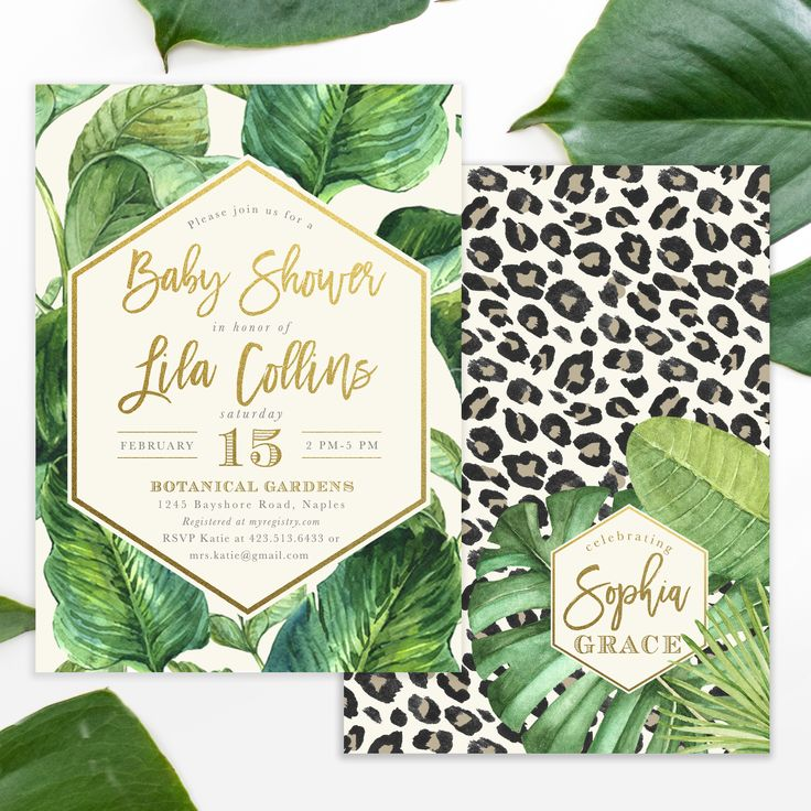 Lila: The cutest, classiest glam Safari or Jungle themed baby shower invite! Featuring pretty gold modern brush calligraphy lettering, tropical banana leaves and a cheetah print background.
