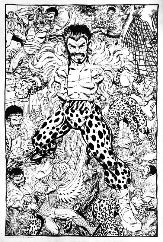 Kraven The Hunter montage commission by John Byrne. 2016. #John Byrne#Kraven The Hunter#Spider-Man#Vulture#Chameleon#J. Jonah Jameson#Man-Wolf#Marvel#Comics#Commission#Montage#2016