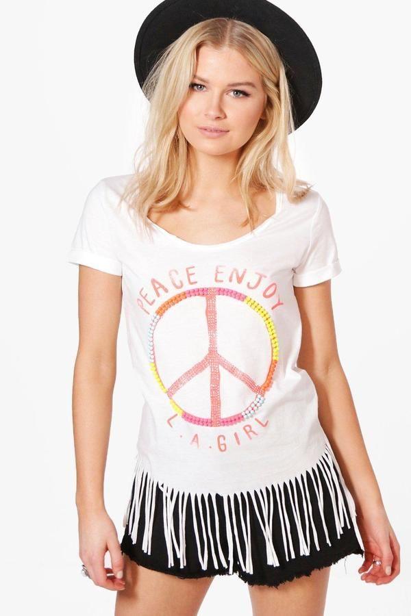 boohoo Lily Beaded Peace Slogan Fringed T-Shirt