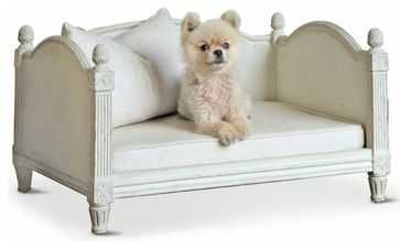 Theodore Ivory and Gray Fog Linen Dog Bed - transitional - Dog Beds - Kathy Kuo Home
