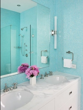 Tiffany blue tiles... The color I want for the bathroom of our next home!! So fresh & pretty.