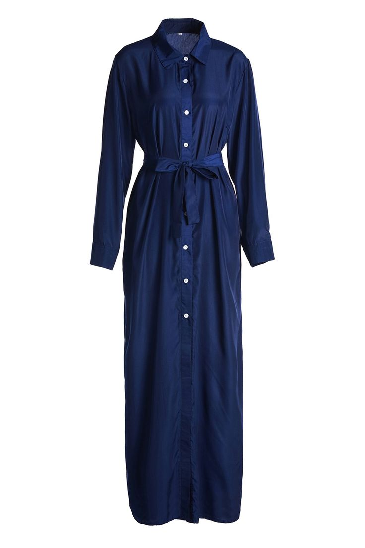 Blue Shirt Neck Long Sleeve Maxi Dress BLUE: Maxi Dresses | ZAFUL