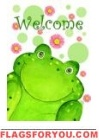 Welcome Frog Garden Flag