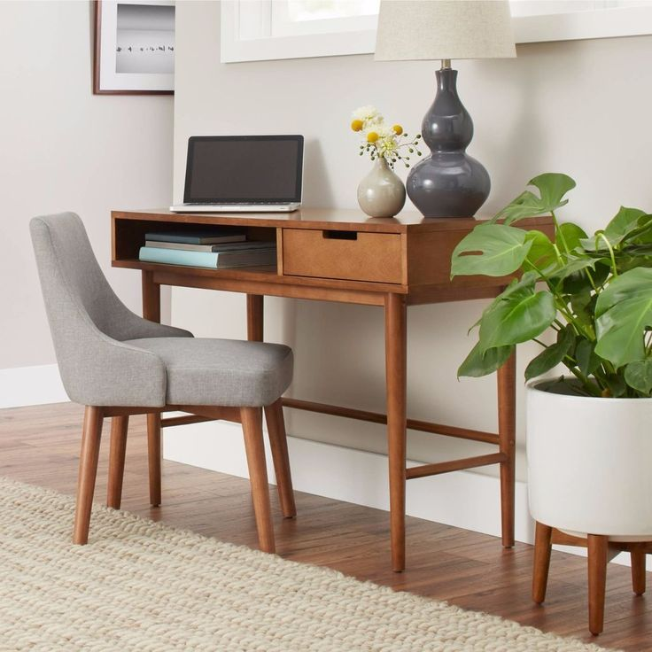 Mid Century Office Retro Desk Vintage Modern Furniture Console Table Pecan  #MidCenturyModern #Unbranded