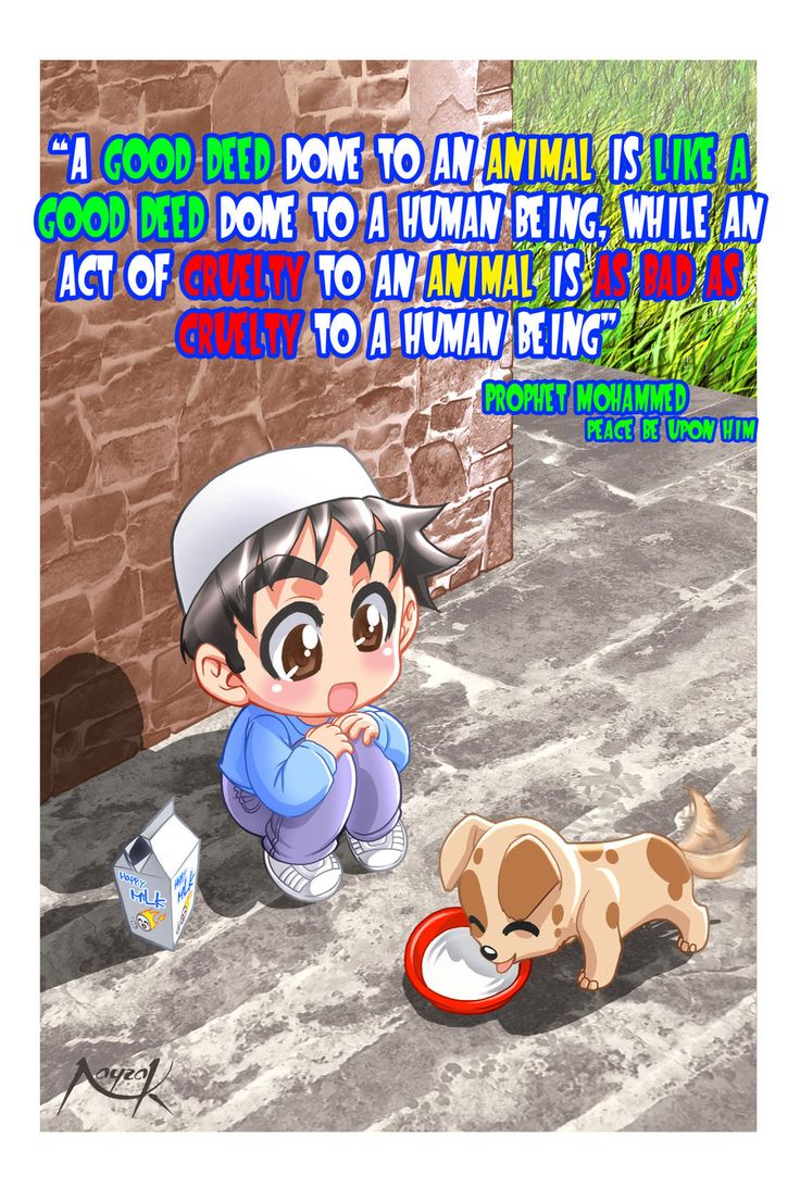 Well, no matter of you are a Muslim, a Jewish, a Christian, a Hindu, a Sikh, a Taoist, a Shinto, a Catholic or an atheist you should act nicely towards an animal. Animal care by ~Nayzak on deviantART