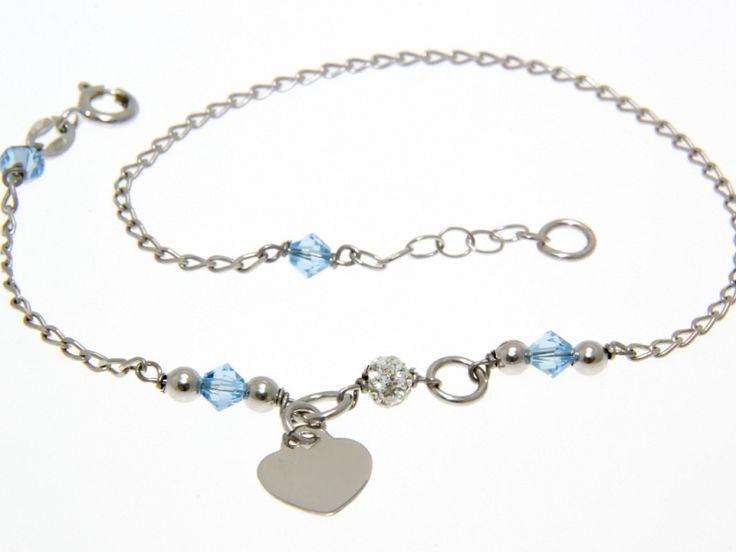Kék cseh gyöngyös és fehér Swarovski kristályos ródiumos ezüst bokalánc