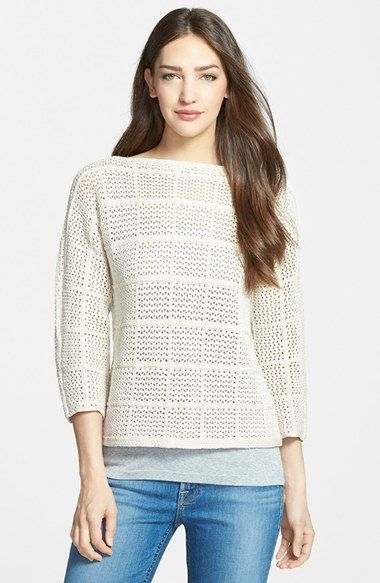 Classiques Entier® Crochet Cotton Sweater available at #Nordstrom