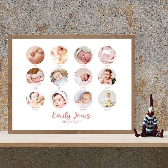 Baby 12 Months Photo Collage Printable Baby S First Year Photo Collage Baby Collage First Birthday Photo C Nursery Wall Art Printable Baby Collage Wall Collage