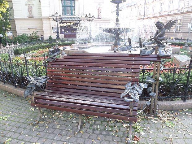 Amazing bench in front of Mickiewicz Theater in Bielsko-Biała.