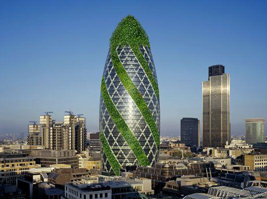 "Under pressure from other more sustainable buildings popping up around the world, London's #Gherkin #Tower, designed by Norman Foster, has recently begun testing an innovative vegetated facade panel which promises to change the face of building design forever. This new ""Green wall"" product, known as the Core Hydraulic Integrated Arboury panel, promises to bring the benefits of green roofs to any exterior surface of any skyscraper. #eco"