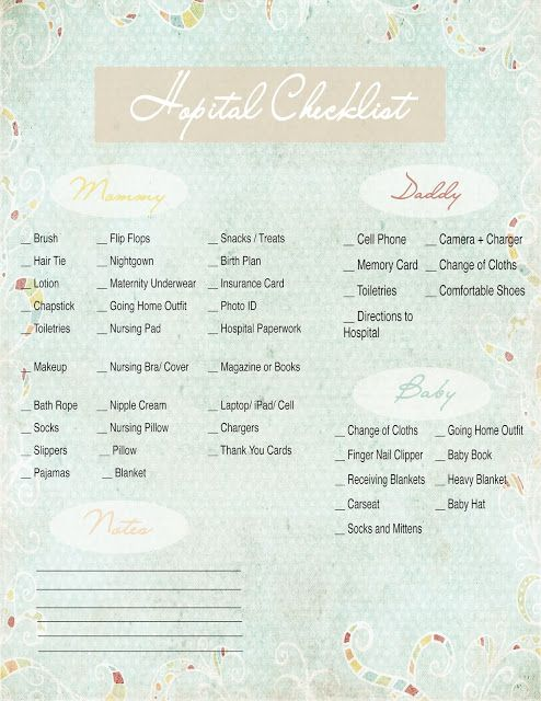 Hospital Checklist {Free Printable}