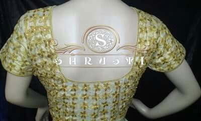 Gold allover embroidered designer blouse