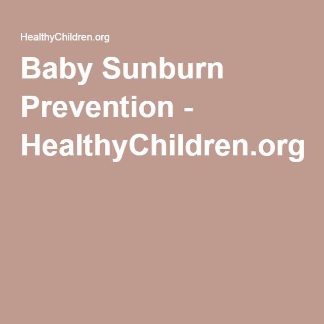 Baby Sunburn Prevention - HealthyChildren.org